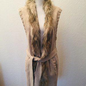H&M Long Open Tie Sweater Duster Faux Fur Collar